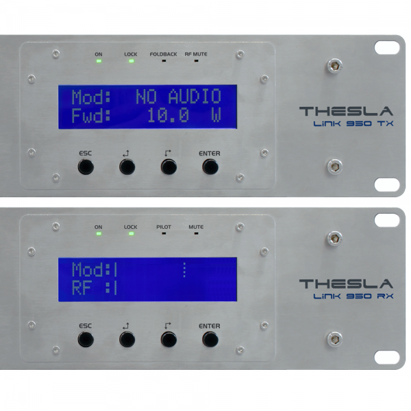 THESLA LINK TX RX BIQUAD POWERED BY RVR display ligado